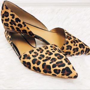 J. Crew | Leopard Print Zoe D'Orsay Pointed Flats